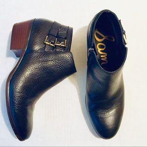 Sam Edelman Black Leather Petal Ankle Booties 8.5